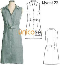 VESTIDO CAMISERO SIN MANGAS MUJER. Diy Vestido, Sewing Patterns, Womens Fashion, Outfits, Clothes, Dresses, Dress Template, Block Dress, Sewing Tips