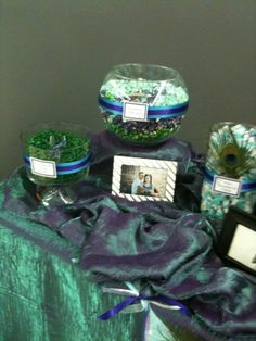 peacock themed candy buffet | hand stamped each candy bag to be filled with all the yummy candy i ...