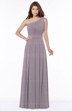Sea Fog Gorgeous A-line One Shoulder Zip up Floor Length Pleated Bridesmaid Dresses