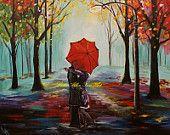 "Couple in Love Couples Kissing Art Print Gilcee Wall Art Print In Love Rainy Hugging Romance Romantic Umbrella Rainy ""Sweethearts Kiss"""