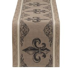 Design Imports Fleur De Lis Stripe Jacquard Table Runner, Black (Cotton)
