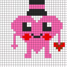 Mr Hearts Perler Bead Pattern | Bead Sprites | Misc Fuse Bead Patterns