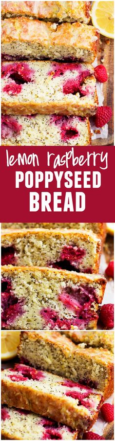 A delicious and moist lemon poppyseed bread that is bursting with fresh raspberries inside. Drizzled in a lemon glaze, this will be one of the BEST quick bread recipes that you make!