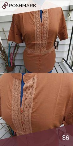 Brown Tie Tunic Brown Tie Tunic Linen like 100% cotton 14 1x 16 2x 18 3x Michelle Martin Tops Tunics