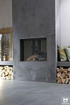 Industrieel interieur industrial interior industriële kachel fireplace open haard