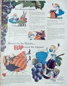 Welch s Grape Juice  print ad  Rare Color Illustration  alice and rabbit  1951 Life Magazine Art