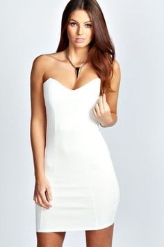 Fren lace bandeau bodycon dress ivory