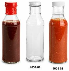 Glass Bottles, Clear Glass Barbecue Sauce Bottles w/ Lined Plastic or Metal Caps