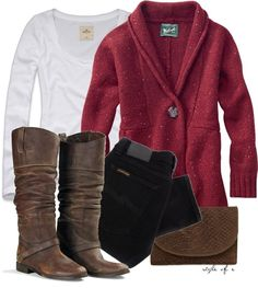 I love this style cardigan with jeans & boots because the neckline is flattering and they are usually long length