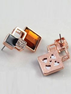 #Champagne #Geometric #Gem #Earrings