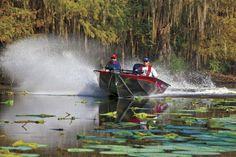 The Bass Tracker, aluminum fishing boat. (Bass Pro Shops)