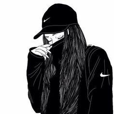 easy black and white drawings Tumblr Girl Drawing, Tumblr Drawings, Cute Girl Drawing, Girly Drawings, Drawing Wallpaper, Girl Wallpaper, Girl Cartoon, Cartoon Art, Black Girl Art