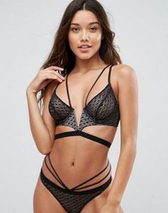 ASOS Gianna Diamond Lace Longline Underwire Bra Set