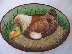 Poule et poussin  design de Daphné Brissonnet  Cours suivit a Passion Couleurs en 2004 - peinture sur bois