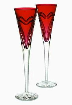 Red Glass Champagne Flutes | Red Waterford champagne flutes with hearts! These are decadent and so ...