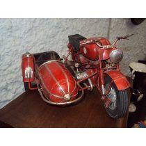 Juguete Moto Con Sidecar De Chapa Antigua Muy Grande