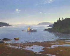 'A Moment Down East', Alkyd. This Alkyd painting was done for The Mystic Seaport Gallery in an exhibition. and this painting was featured in an ad for the show in American Art Review Magazine. As in many of my paintings, the image is a composite featuring elements that could not be observed in one particular place. The delta-like foreground was not in this area. The dory was added for visual interest. The Lobster boat was from a completely different area. #woodenboat #calm #composition
