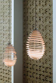"""University of Aarhus, Denmark by C. F. Møller, """"Spiral Lamps"""" by Poul Henningsen"""
