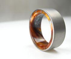 Titanium Wood Tone Burl Mens Wedding Band Iced Bronze by spexton on Etsy