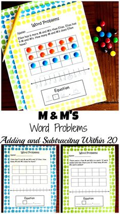 These free M & M Word Problems will help your child practice adding and subtracting within 20 by working with 10 frames, number lines, and equations.