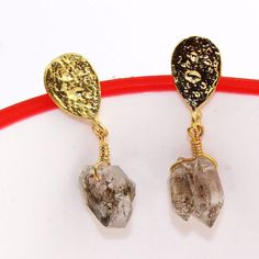 H2344 For Sale ! Natural Real Brown Herkimer diamond Gold Plated Earring jewelry #Handmade #DropDangle #CasualParty