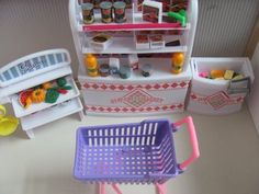 Barbie Size Dollhouse Furniture-supermarket Shopping Cart Veggie #zfinding