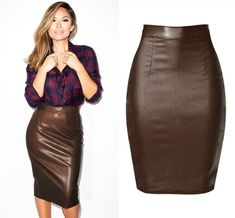 Newest High Waist Leather Skirts Women Summer Cotton Coated Denim Saia Feminina Fashion Push Up Knee-length Brown Faldas Mujer Aladdin, Female Shorts, Denim Coat, Cute Casual Outfits, Sexy Skirt, Short Skirts, Dame, Clothes For Women, Leather Skirts