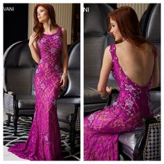 Jovani 21789. Available in Raspberry, Green, Black and Champagne. Stretch lace evening gown with a beautiful low back. Mia Bella Couture. California Glam. Jovani. Jovani Fashions. Evening Gown. Prom. Long Dress. Must Have. Dress Shopping. OOTD.