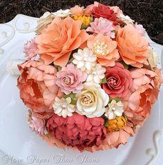 Paper Bouquet - Paper Flower Bouquet - Wedding Bouquet - Toss Bouquet - Peach…