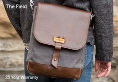 man wearing leather field bag