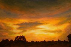 Sunset - Le Dorat, France. Acrylic on paper. 60 x 40 cm