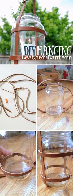 Check out the tutorial: #DIY Leather Hanging Lantern #crafts #homedecor