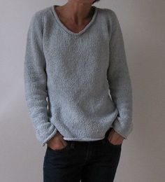 A very basic top down raglan with almost no seaming required. Includes sizing / shaping for both men and women, and (despite its name) a crew-neck variation as well. It is designed to be a casual, loose fit, but could easily be made more fitted by increasing the waist shaping rows and choosing a size that fits more closely. The neck trim can also be left off for a more open v-neck.