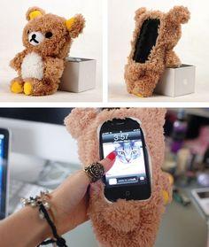 Rilakkuma plush bear iphone case fluffy phone cases, weird phone cases, f. Weird Phone Cases, Fluffy Phone Cases, Funny Iphone Cases, Cool Cases, Smartphone Iphone, Iphone 4, Coque Ipod, Portable Apple, Rilakkuma Plush