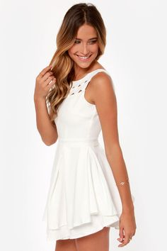Flirting with Danger Cutout Ivory Dress at LuLus.com!