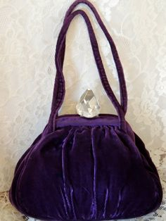 af85ba2d850 Vintage Purple Velvet Handbag Purse with Crystal Style Clasp (might be  lucite?) on