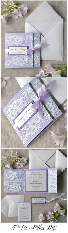 Lavender Lace wedding invitation - completely customizeable & fully assembled #wedding #weddingideas #lavender #lilac #Lace #weddingstationery #pastel