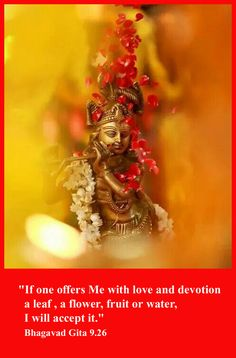 If one offers Me with love and devotion a leaf,a flower,fruit or water, I will accept it . Bhagavad gita 9.26