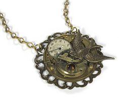 Steampunk Necklace  Vintage Pocket Watch Brass by edmdesigns
