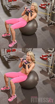 Stability Ball Crunches with Band: Amp up your core training! The stability ball crunch is one of the most effective exercises for abdominal engagement, and is great alternative to floor crunches.