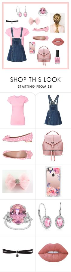 """Untitled #53"" by abigail-fredricks ❤ liked on Polyvore featuring WithChic, RED Valentino, Casetify, Fallon, Lime Crime, OPI, Pink, PolkaDots, MyStyle and overalls"