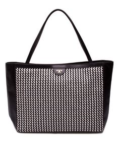 Another great find on #zulily! Black & White Geometric Erica Leather Tote #zulilyfinds