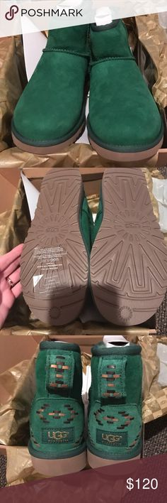 BNIB Ugg Classic mini rustic weave Brand new in box. Pine green with rustic weave detailing on back of heal. Classic mini style. Size 7. UGG Shoes Ankle Boots & Booties