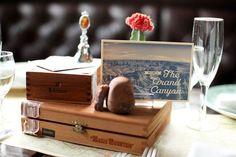 Vintage travel wedding table decor- Jen Huang Photography