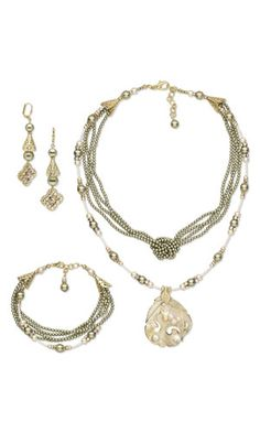 Multi-Strand Necklace, Bracelet and Earring Set with Gold-Finished Blister Pearl Focal, SWAROVSKI ELEMENTS and Gold-Plated Brass Cones
