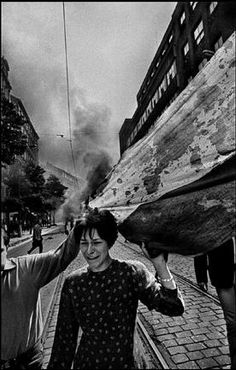 Invasion by Warsaw Pact troops. The Czechoslovakian national flag. Prague, August 1968. Photo: Josef Koudelka