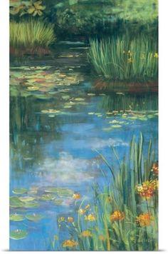 Carol Rowan Poster Print Wall Art Print entitled Garden Pond III, None Pond Painting, Lotus Painting, Oil Painting Abstract, Abstract Canvas, Painting & Drawing, Canvas Art, Big Canvas, Stretched Canvas Prints, Framed Prints