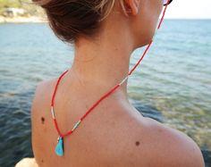 Seed Bead Sunglass Strap – Red – The Boho Minimalist