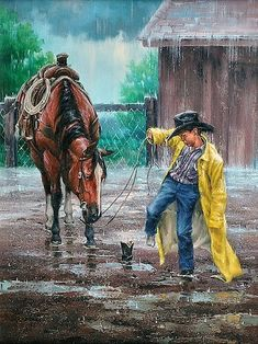 Peinture de Jack SorensonNé en 1954, Jack Sorenson est un peintre Américain qui a grandi  et vécu la vie du Far West qu'il représente aujourd'hui dans son travail.  C'est un artiste doué naturellement depuis l'enfance. Sorenson a un bon  sens de l'humour.Il est souvent évident dans ses peintures de voir  des enfants, des cow-boys et des chevaux.