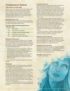 Homebrewing races The Lady of the Lake: An Alternative to u/Xenoezens Variant Hexblade Warlock Patron : UnearthedArcana Dungeons And Dragons Rules, Dungeons And Dragons Classes, Dungeons And Dragons Homebrew, Dungeons And Dragons Characters, Dnd Characters, Warlock 5e, Warlock Class, Dnd Paladin, Dnd Classes